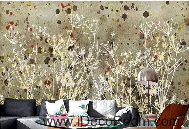 European style retro abstract little pattern dandelion tree branch oil painting effect wall art wall decor mural wallpaper wall  IDCWP-000096