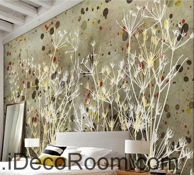 Image of European style retro abstract little pattern dandelion tree branch oil painting effect wall art wall decor mural wallpaper wall  IDCWP-000096