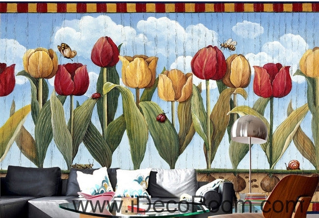 European style retro pastoral blue sky white clouds tulip oil painting effect wall art wall decor mural wallpaper wall  IDCWP-000097