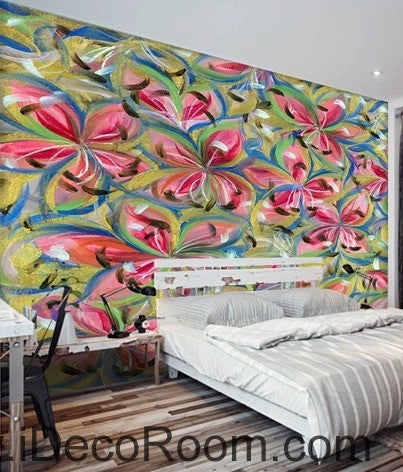 Beautiful dream romantic abstract color lily petal oil painting effect wall art wall decor mural wallpaper wall  IDCWP-000098
