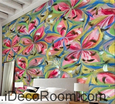Image of Beautiful dream romantic abstract color lily petal oil painting effect wall art wall decor mural wallpaper wall  IDCWP-000098