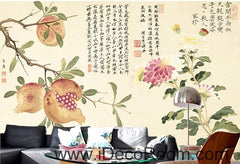 Retro Pomegranate Flower Fruit Chinese Painting wall art wall decor mural wallpaper wall  IDCWP-000101