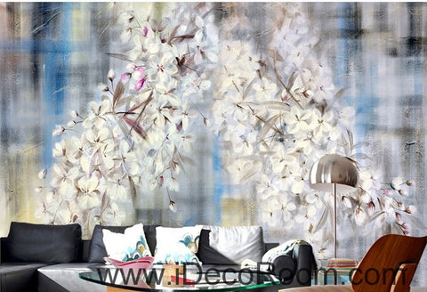 Image of Beautiful dream romantic blue background white lyrical flower hydrangea wall art wall decor mural wallpaper wall  IDCWP-000102