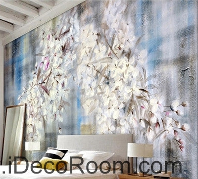 Beautiful dream romantic blue background white lyrical flower hydrangea wall art wall decor mural wallpaper wall  IDCWP-000102