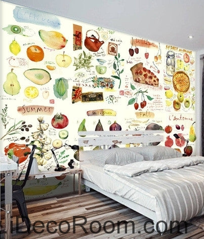 Clear Green Vegetable Fruit Tomato Pizza Restaurant Mural wall art wall decor mural wallpaper wall  IDCWP-000103