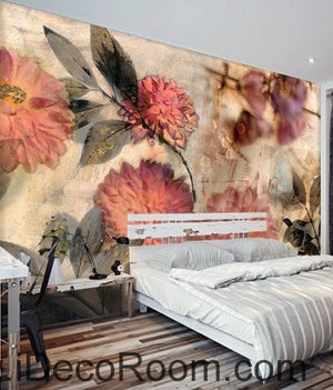 European style retro abstract pink blooming flower hydrangea oil painting effect wall art wall decor mural wallpaper wall  IDCWP-000107