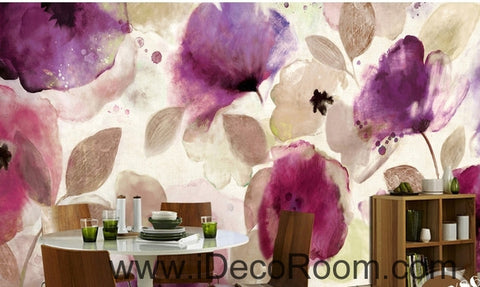 Image of Beautiful dream romantic abstract purple blooming poppy flower painting wall art wall decor mural wallpaper wall  IDCWP-000109