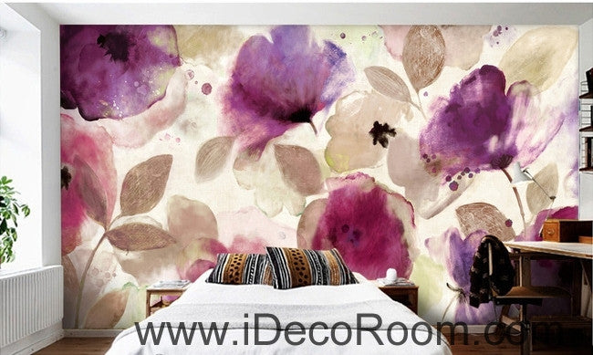 Beautiful dream romantic abstract purple blooming poppy flower painting wall art wall decor mural wallpaper wall  IDCWP-000109