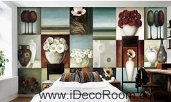 Retro Square Pattern Flower Still Life Bonsai oil painting effect wall art wall decor mural wallpaper wall  IDCWP-000110