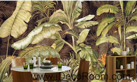 Image of Retro tropical plants banana leaves banana flowers oil painting effect wall art wall decor mural wallpaper wall  IDCWP-000111