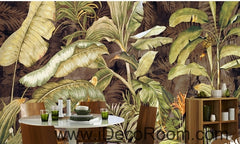 Retro tropical plants banana leaves banana flowers oil painting effect wall art wall decor mural wallpaper wall  IDCWP-000111