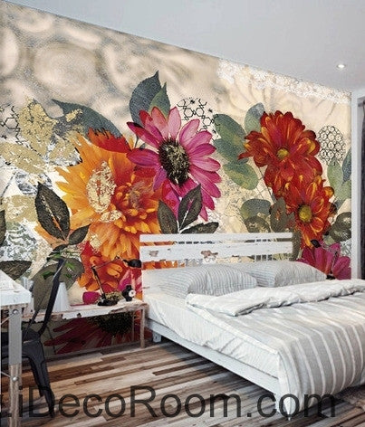European style retro colorful flowers in full bloom wall art wall decor mural wallpaper wall  IDCWP-000113