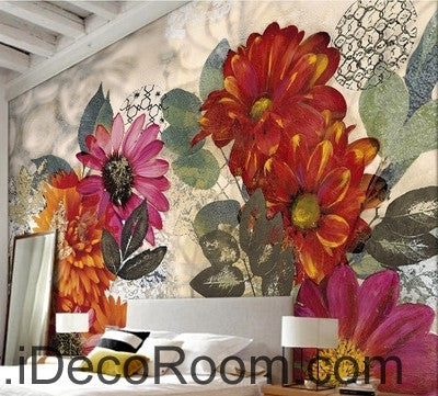 Image of European style retro colorful flowers in full bloom wall art wall decor mural wallpaper wall  IDCWP-000113