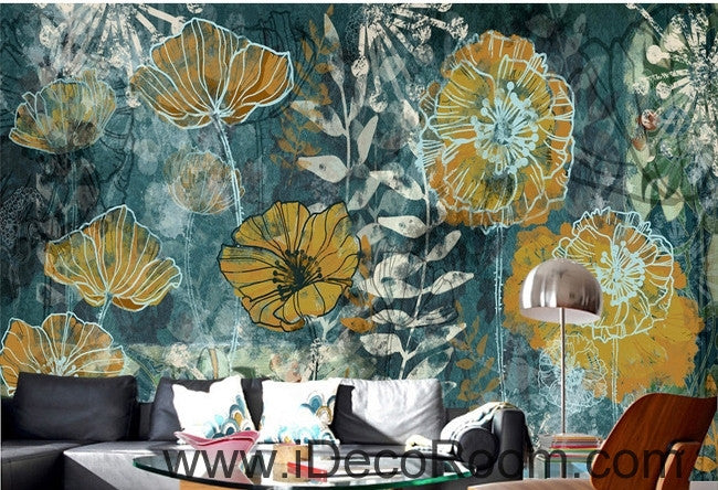 Fantasy fresh blue background abstract floral pattern gesang flower oil painting effect wall art wall decor mural wallpaper wall  IDCWP-000114