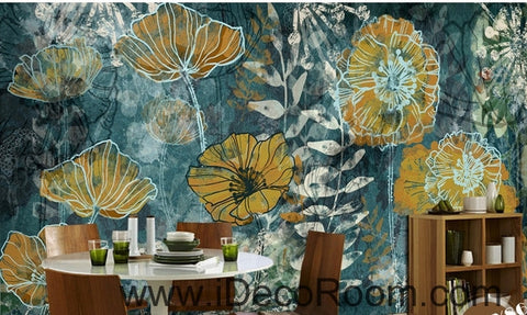 Image of Fantasy fresh blue background abstract floral pattern gesang flower oil painting effect wall art wall decor mural wallpaper wall  IDCWP-000114