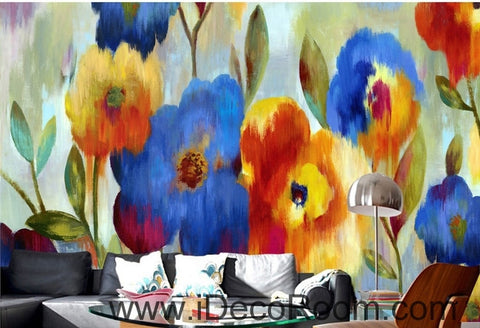 Image of Beautiful dream romantic blooming color floral poppy flower painting wall art wall decor mural wallpaper wall  IDCWP-000115