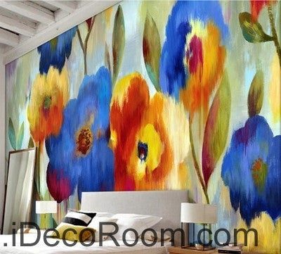 Beautiful dream romantic blooming color floral poppy flower painting wall art wall decor mural wallpaper wall  IDCWP-000115