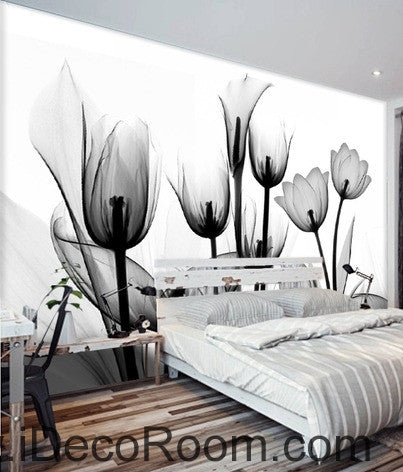 Image of Beautiful dream black and white art in full bloom tulips transparent wall art wall decor mural wallpaper wall  IDCWP-000116