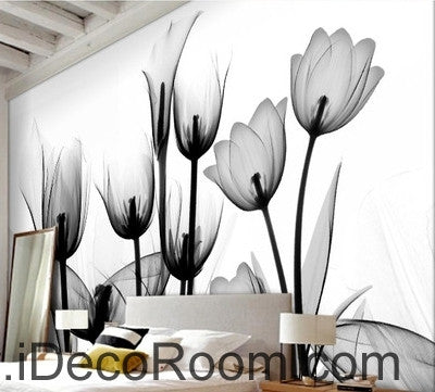 Beautiful dream black and white art in full bloom tulips transparent wall art wall decor mural wallpaper wall  IDCWP-000116