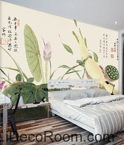 Beautiful and fresh light green lotus lotus leaf lotus flower painting wall art wall decor mural wallpaper wall  IDCWP-000117