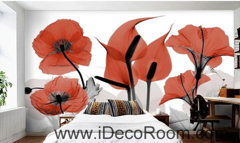Image of Beautiful dream cool red poppy flower calla flower transparent wall art wall decor mural wallpaper wall  IDCWP-000118