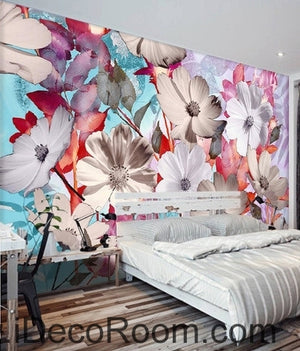 A beautiful dream of fresh and in full bloom Gesang flowers overlap painting wall art wall decor mural wallpaper wall  IDCWP-000119