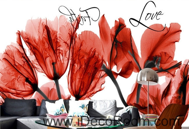 Beautiful dream cool red bloom tulip orchid transparent flower wall art wall decor mural wallpaper wall  IDCWP-000120