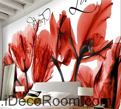 Image of Beautiful dream cool red bloom tulip orchid transparent flower wall art wall decor mural wallpaper wall  IDCWP-000120