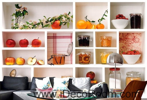 Image of A beautiful fresh white plaid painted fruit canned floral wall art wall decor mural wallpaper wall  IDCWP-000123