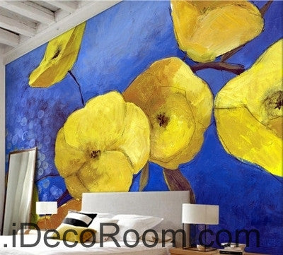 Image of A fresh and fresh dream blue sky in full bloom yellow poppy oil painting effect wall art wall decor mural wallpaper wall  IDCWP-000124