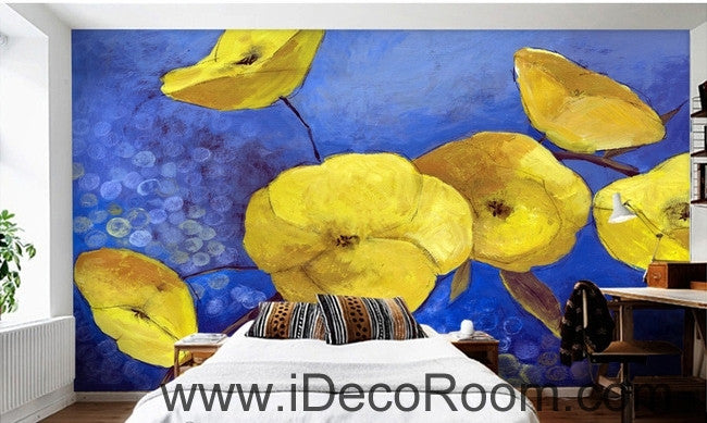 A fresh and fresh dream blue sky in full bloom yellow poppy oil painting effect wall art wall decor mural wallpaper wall  IDCWP-000124