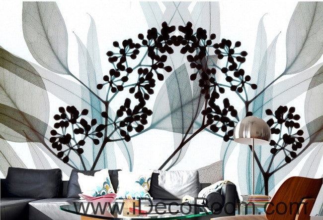 A beautiful dream fresh black and white art Eucalyptus flowers transparent leaf wall art wall decor mural wallpaper wall  IDCWP-000126