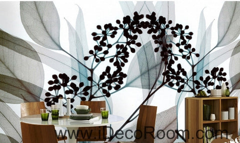 Image of A beautiful dream fresh black and white art Eucalyptus flowers transparent leaf wall art wall decor mural wallpaper wall  IDCWP-000126