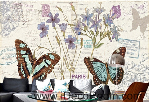 Image of Fresh and beautiful flowers Butterfly Hydrangea English oil painting effect wall art wall decor mural wallpaper wall  IDCWP-000127