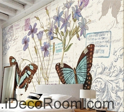Fresh and beautiful flowers Butterfly Hydrangea English oil painting effect wall art wall decor mural wallpaper wall  IDCWP-000127
