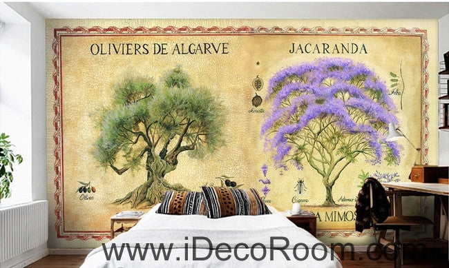 Dreams Purple Purple Flowers Trees Forest oil painting effect wall art wall decor mural wallpaper wall  IDCWP-000128