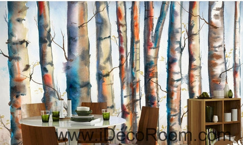 Fantasy fresh light blue white abstract birch forest tree oil painting effect wall art wall decor mural wallpaper wall  IDCWP-000129