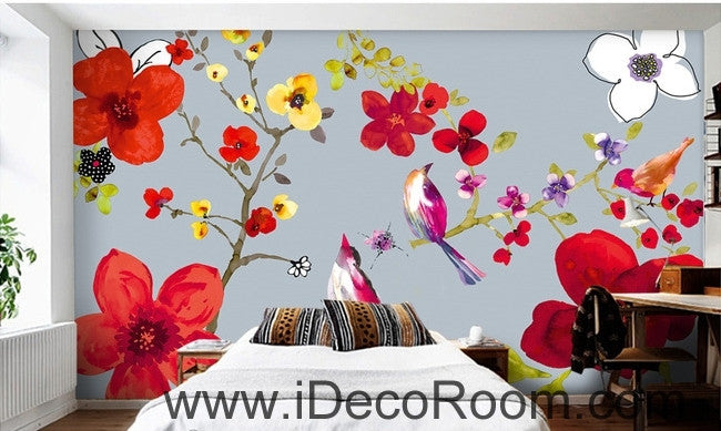 Beautiful and beautiful dream red flowers floral bird magpie oil painting effect wall art wall decor mural wallpaper wall  IDCWP-000132
