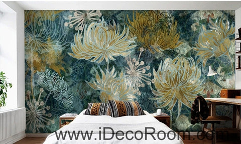Fantasy fresh blue background white abstract daisies overlapping oil painting effect wall art wall decor mural wallpaper wall  IDCWP-000134