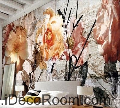 A beautiful dream pink abstract flower camellia  flower painting wall art wall decor mural wallpaper wall  IDCWP-000135