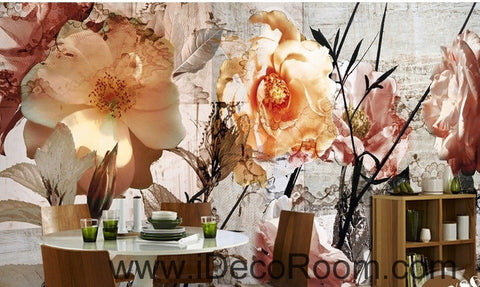 Image of A beautiful dream pink abstract flower camellia  flower painting wall art wall decor mural wallpaper wall  IDCWP-000135