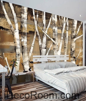 Retro to do the old abstract forest forest birch forest oil painting effect wall art wall decor mural wallpaper wall  IDCWP-000138