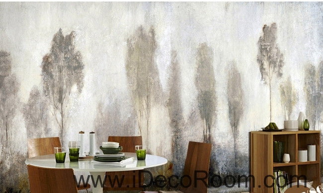 Beautiful dream mystery haze in the abstract pine forest oil painting effect wall art wall decor mural wallpaper wall  IDCWP-000139