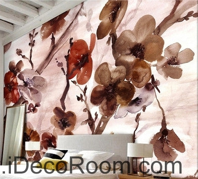 Image of European style retr brown blooming flower painting wall art wall decor mural wallpaper wall  IDCWP-000140