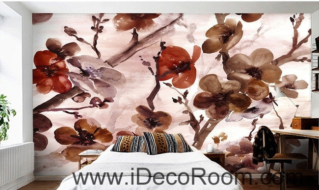 European style retr brown blooming flower painting wall art wall decor mural wallpaper wall  IDCWP-000140