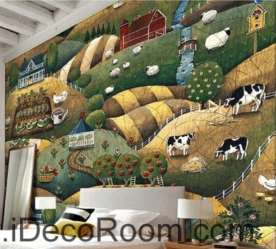 Image of European style retro pastoral scenery pasture animal chicken and sheep oil painting effect wall art wall decor mural wallpaper wall  IDCWP-000141