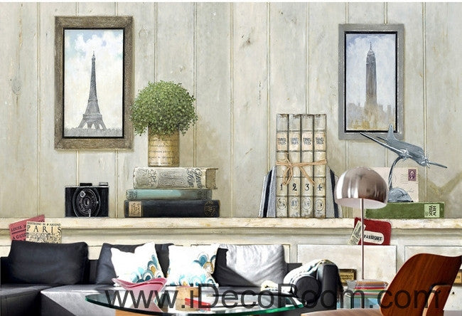 Small fresh table potted Eiffel Tower Big Ben Gua painting wall art wall decor mural wallpaper wall  IDCWP-000142