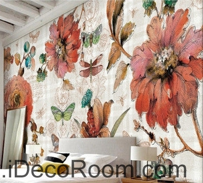 Image of Vintage Beauty Blooming Peony Rose Butterfly oil painting effect wall art wall decor mural wallpaper wall  IDCWP-000144