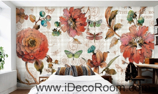 Vintage Beauty Blooming Peony Rose Butterfly oil painting effect wall art wall decor mural wallpaper wall  IDCWP-000144