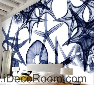 Image of Beautiful retro to do the old seabed transparent starfish conch seashell wall art wall decor mural wallpaper wall  IDCWP-000145